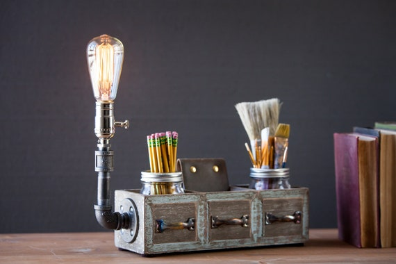 Rustic desk organizer lamp Rustic home decor Boho decor Housewarming gift for him/her Office decor Table lamp Mason Jar lamp Steampunk lamp