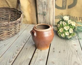 Small Stoneware Crock - Vintage Confit Pot - Brown Glazed Crock - Pottery Crock Pot - French Pickles Pot - Kitchen Jar - Kitchenware Holder