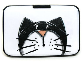 Card wallet with black cat - Card case with black and white cat - Card box