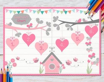Toddler Reward Chart, Girl, Behavior Chart, Homework, Chore Chart Ideas, Print at home, Potty Training, Children, Brushing teeth, Bedtime