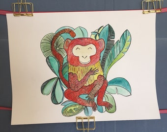 Leaves monkey original watercolor with ink