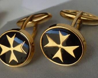 9ct 9kt 375 Maltese Cross cufflinks