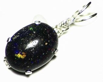 Black Opal Necklace, Natural Black Matrix Opal Pendant, Black Opal Mens Necklace (3.60 ct) Honduras Opal Basalt Opal Mens Black Opal Jewelry