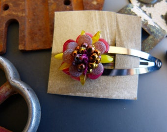 Bead Crochet Flower French Hair Clip in Copper Yellow and Cranberry