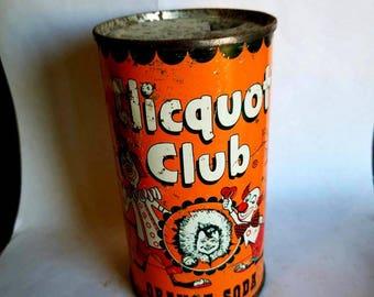 Vintage Clicquot Club flat top Orange soda can
