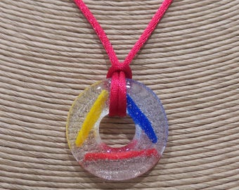 Primary Color Necklace, Round Pendant, Fused Glass Jewelry, Red, Yellow, Blue, Donut Necklace, Handmade, Gift For Her  - Primary Colors -6
