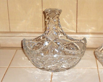 HANDCUT VINTAGE LARGE Crystal Wedding Flower Basket 1960 Period.