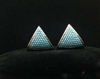 Gold Filled 925 Sterling and Turquoise Unity Earrings for Recovery