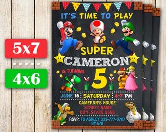 Super Mario Invitation, Super Mario Birthday Invitation, Mario Birthday Party, Mario Bros Invitation, Personalized Invitation.