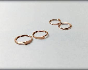 Set of 2 small Hammered 20G hoops for Ears/Nose/Lip/eyebrow Sterling Silver, 14K Yellow Gold F or 14K Rose gold F