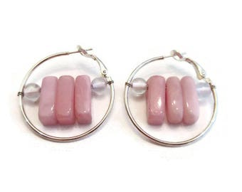 Pink Chalcedony Earrings,Wire Wrapped Earrings,Wire Wrapped Hoop Earrings,Pink Stone Earrings,Hoop Earrings with Stones,Hoop Earrings Silver