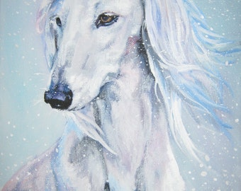 saluki hound dog portrait art CANVAS print of LA Shepard painting 8x10
