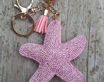 Pink starfish rhinestone key chain-Tassel key fob