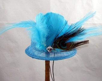 Turquoise Mini Top Hat Fascinator Kentucky Derby Wedding Hat