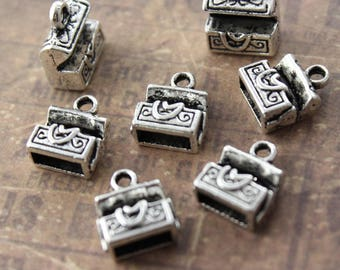 10 Tiny Treasure Chest Charms Charms Antiqued Silver Tone 3D 10 x 10 mm