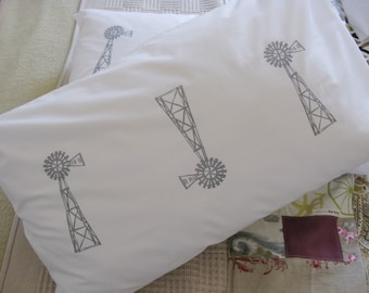 Pillow cases, Set of Two, hand printed, windpumps