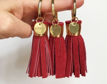 Mini Crimson Suede Tassel Keychain