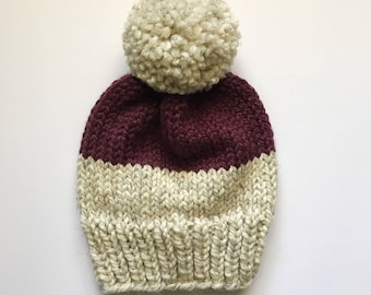 Color Block Knit Hat // Oatmeal and Plum