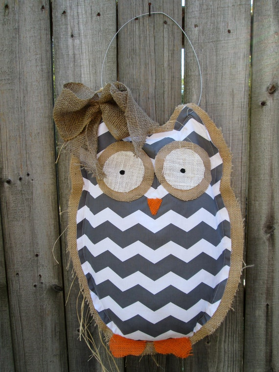 Items Similar To Ready To Ship Owl Burlap Door Hanger Door