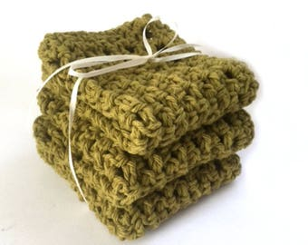 Handmade Dish Cloths Olive Green Eco Friendly Crochet Cotton Kitchen Dishcloths Set of 3