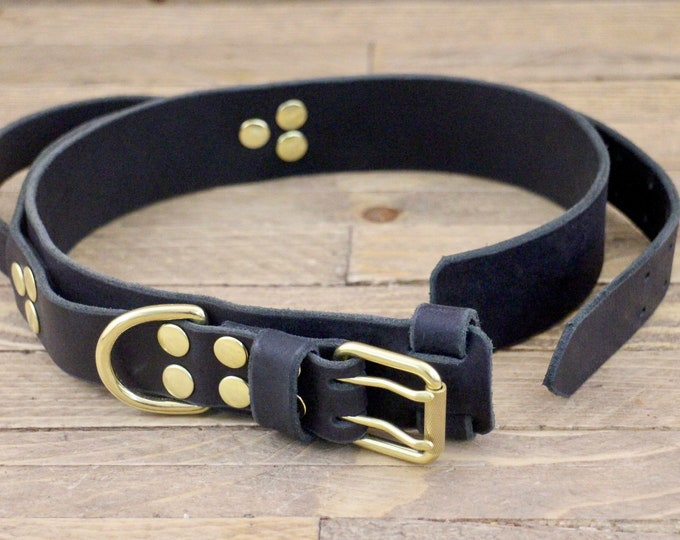 Heavy duty collar with handle, Dog collar with handle grip, Leather collar with built in handle, 1 3/4'' Wide, Brass hardware
