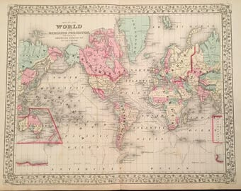 Antique world map etsy 1867 map of the world original antique map hand colored map by mitchell gumiabroncs Gallery