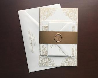 Ornate Baroque Filigree Gold Engraved Wedding Invitation (Jessica)   Deposit