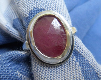 Rose Cut Bright Pink Sapphire in Argentium Ring Size 5