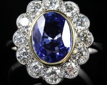 Sapphire Diamond Cluster Ring 18ct Gold 3.20ct Sapphire 1.50ct Diamond