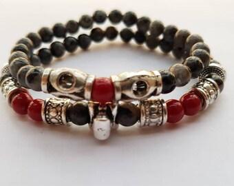 Duo bracelet Pearl semi precious beaded duo Bracelet