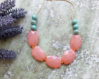 Peach Necklace Peach and Turquoise Necklace Chunky Necklace Statement Necklace Coral peach weddings Bridesmaids necklace