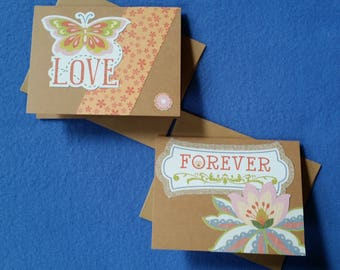 Love Forever Handmade Cards - Recycled Kraft Paper with butterfly and flower, two blank cards love cards, forever love