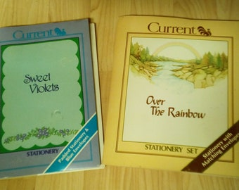 Vintage Current Stationary with Envelopes - 2 sets - Sweet Voilets & Over the Rainbow