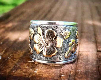 Sterling Silver and 14k Gold Hibiscus Ring