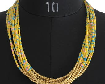 Yellow Multistrand Beaded Statement Necklace, Seed Beads Necklace, Multi-layer Necklace