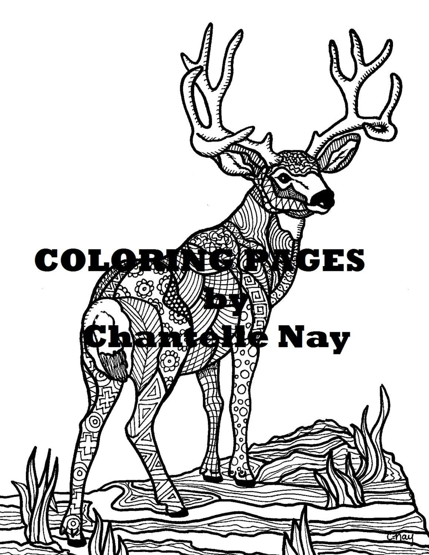 Ciervos colorear página imagen de adulto para colorear
