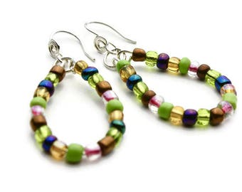 Multicolored Beaded Teardrop Oval Earrings, Multicolored Beaded Teardrop Hoop Earrings, Seed Beads, Part of a Set, Silver Ear Wires