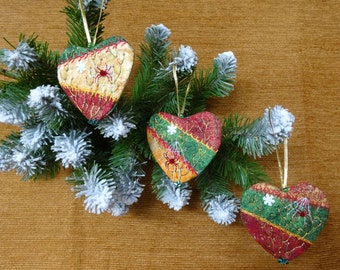 Christmas heart crazy quilt ornaments, Christmas decoration, Christmas heart ornaments, Christmas tree ornament, Christmas tree ornaments