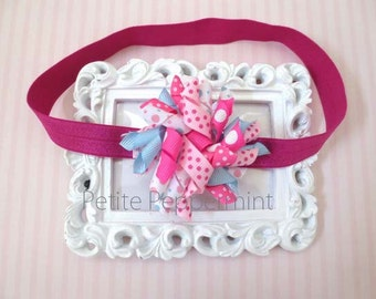 Baby headband, baby girl headband, newborn headband, toddler headband - Pink Korker Baby Head Band