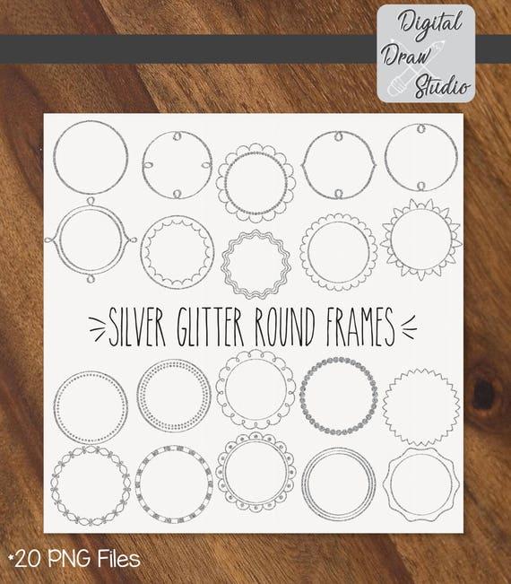 20 Silver Glitter Round Frames Clip Art Round Hand Drawn