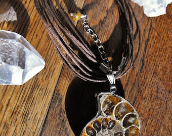 Ammonite Fossil Cord Necklace