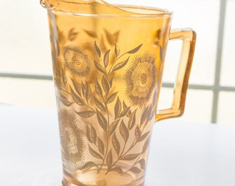 Vintage c1940s Jeannette Glass Cosmos Peach Carnival Glass Lusterware Pitcher and Two Juice Glasses