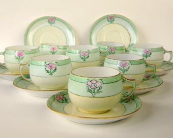 RESERVED for pbsavvy: Paul Mueller Selb Teacups & Saucers, Set of 8 Early 1900s Shabby Green Lustreware, Pink Roses