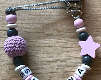 Personalized pacifier - star and bead crochet