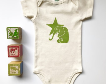 Elephant and Star Organic cotton short sleeve one piece in Avocado, Baby shower gift, Made in Seattle, Available in long sleeve
