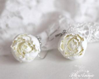 peony earrings, flower earrings, ivory earrings, gift for her, ivory style, ivory peony earrings, ivory bride jewellery, ivory accessories