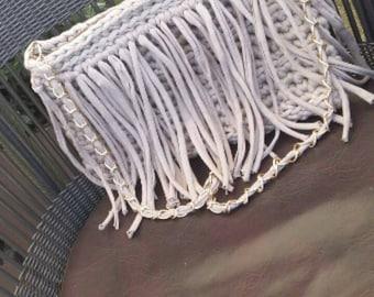 Handmade crochet handbag with fringers