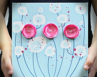 Small Canvas Art, Original Painting in Blue and Pink, Poppy Flower Wall Art, Gifts for Her - 10x10