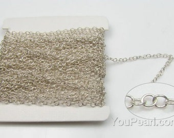 925 sterling silver oval chain, flat chain, twisted oval link chain, silver chain findings, chain bracelet, chain necklace, 1 foot, SC2030