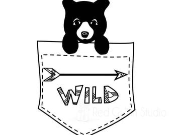 Bear in my Pocket SVG - Wild Theme - Little Boy HTV - Boy Decal - Instant Download - Pocket Shirt Decal - Toddler Heat Transfer - Bear Cub